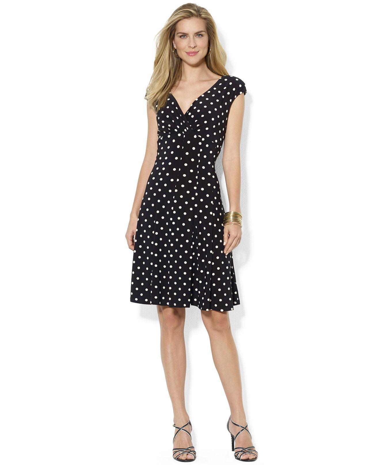 44344092bdc8 Lauren Ralph Lauren Petite Polka-Dot Cap-Sleeve Dress - Dresses - Women -  Macy's