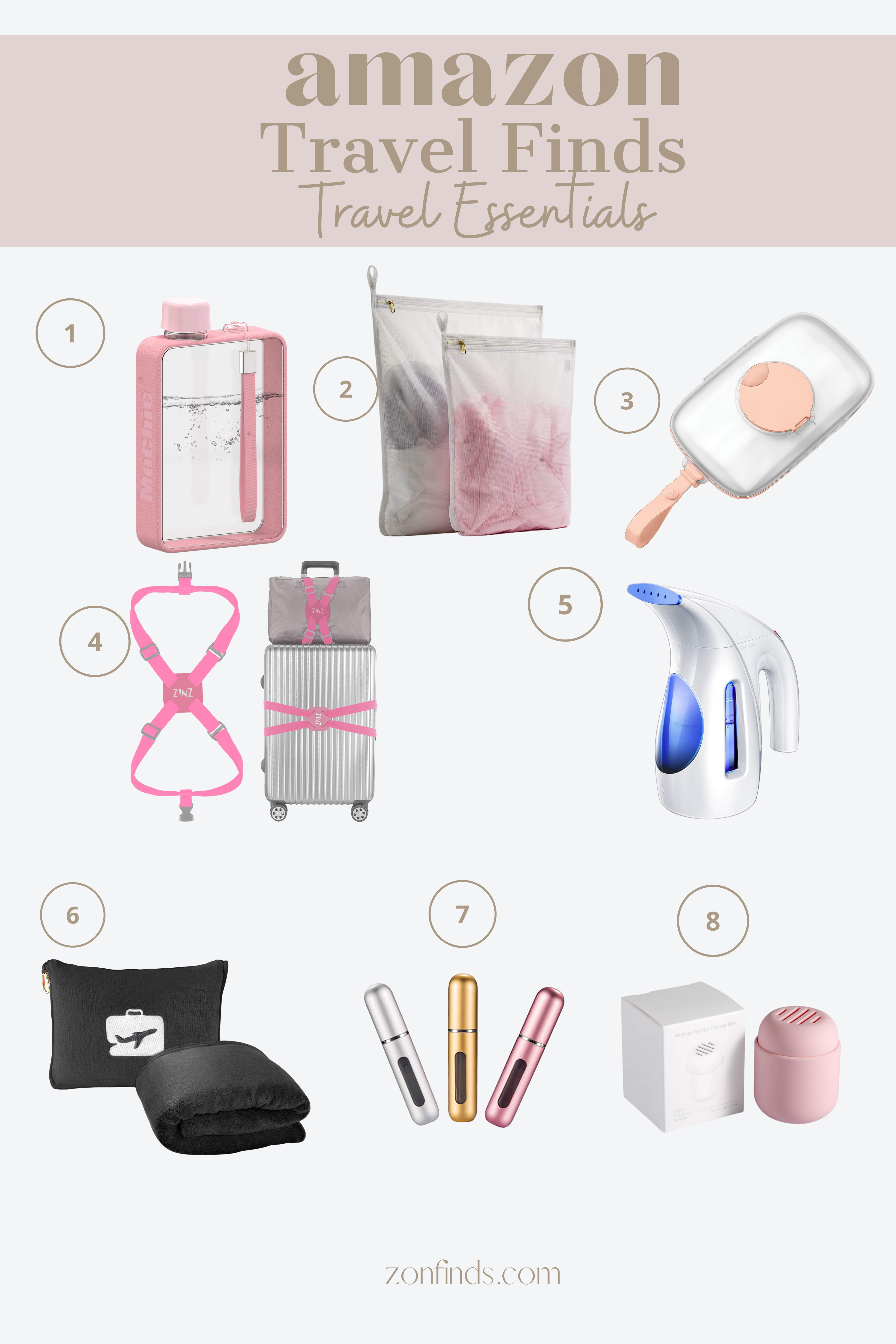 Planning on traveling soon? Here are some of the best Amazon finds for travel. These items will make your trip easier and enjoyable! This cute mini steamer will help you even on your most wrinkly days. Click to check out the rest of these travel must haves.