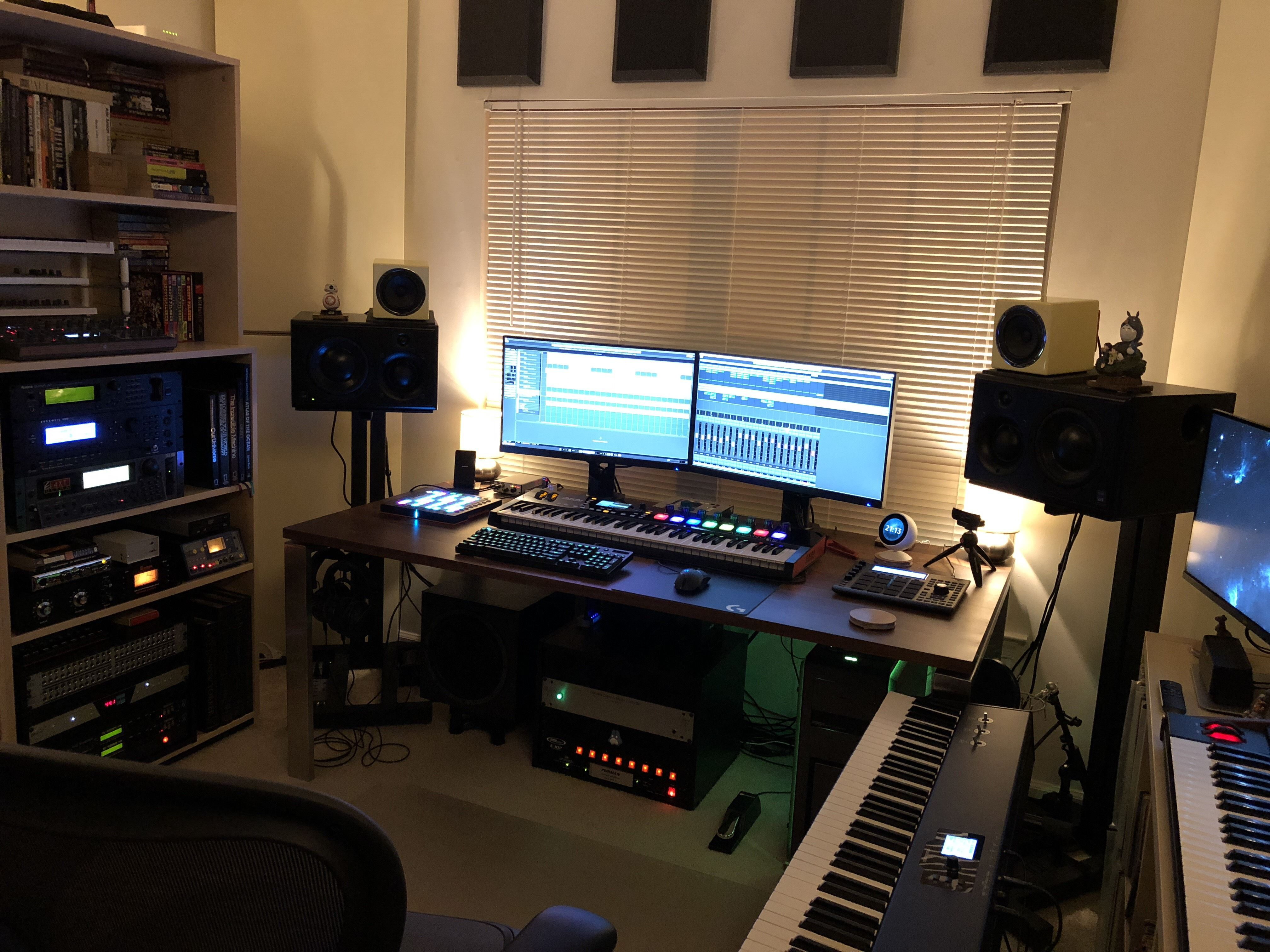 Finally Complete The Geeknest A Cozy Music Gaming Station Home Studio Music Home Studio Setup Music Studio Room