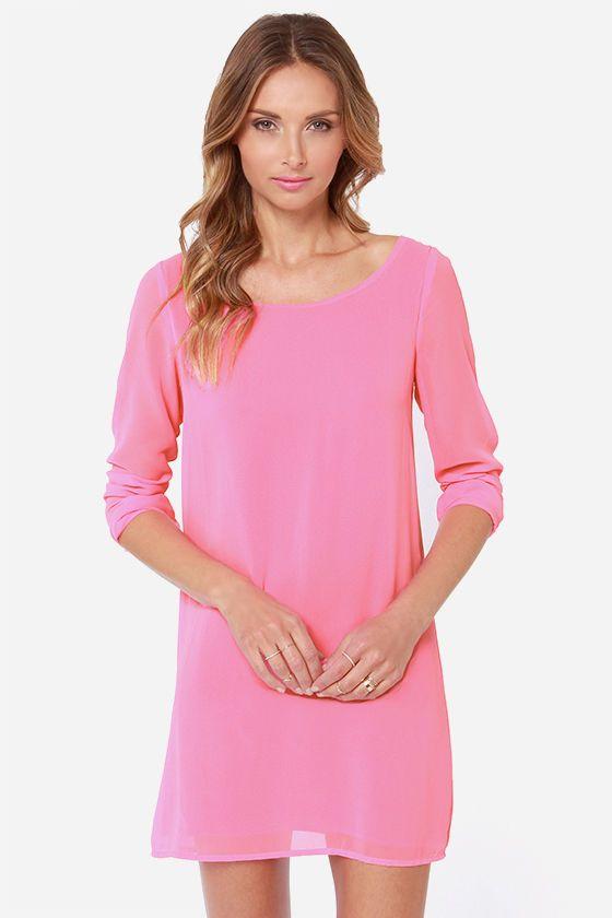 Lattice Dance Candy Pink Shift Dress at Lulus.com!