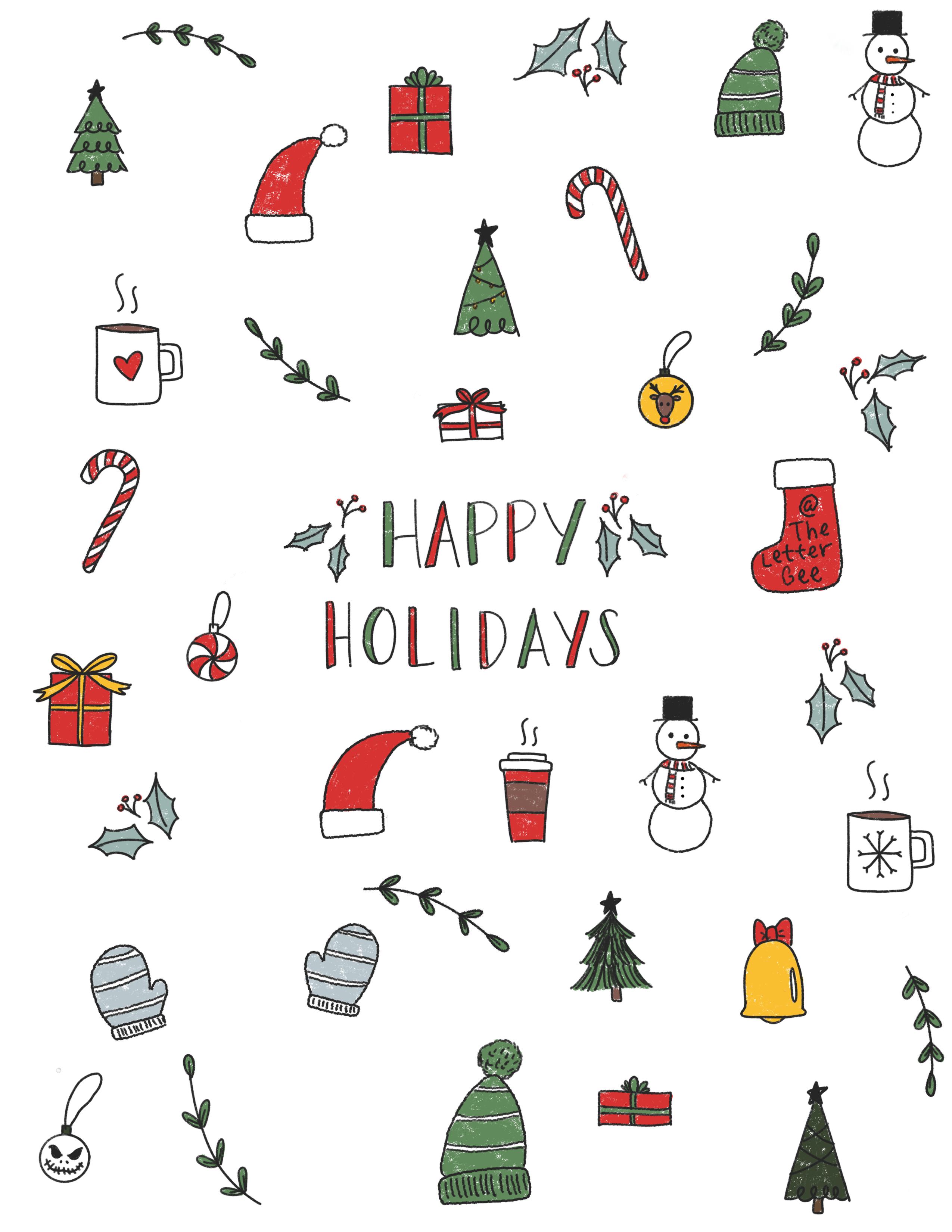 Christmas Holiday Doodles Christmas Phone Wallpaper Cute Christmas Wallpaper Christmas Doodles