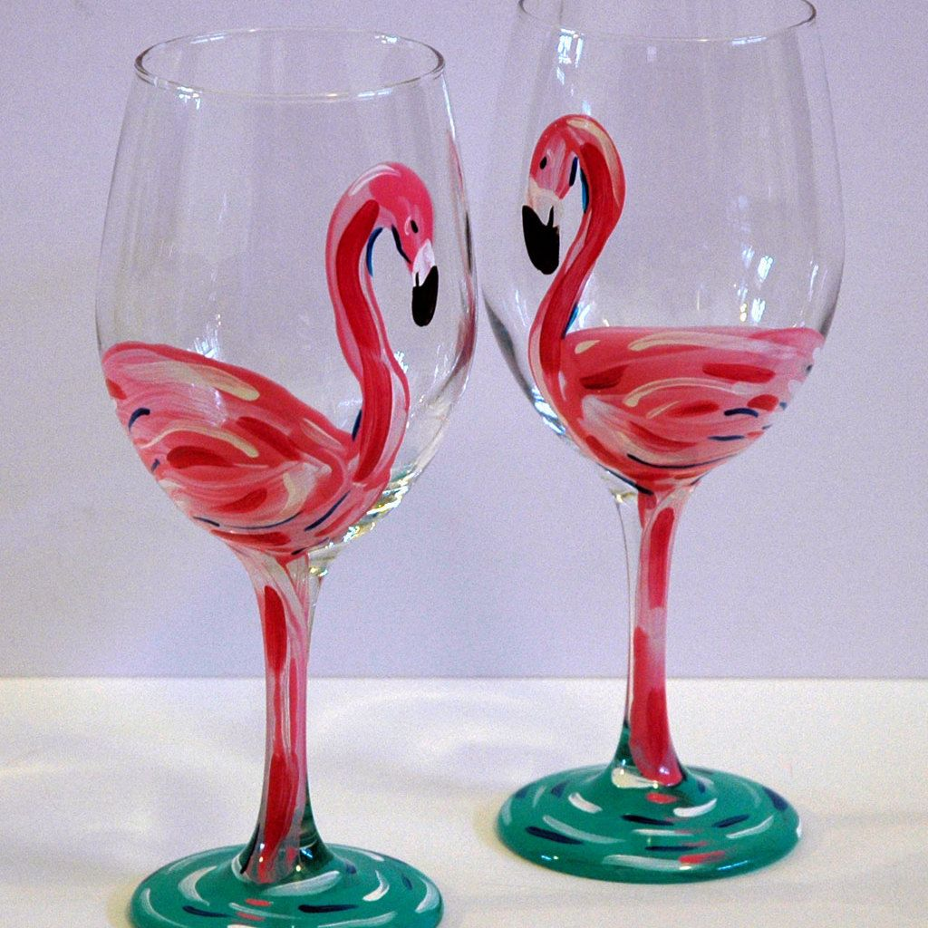 Browse Unique Items From Janellepattersonart On Etsy A Global Marketplace Of Handmade Vintage And Hand Painted Glassware Painting Glassware Wine Glass Crafts
