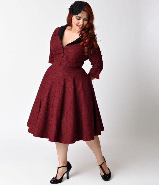 Unique Vintage Plus Size 1950s Burgundy Black Dot Sleeved Eva Marie Swing Dress Plus Size Vintage Dresses Plus Size Fashion Vintage Dresses
