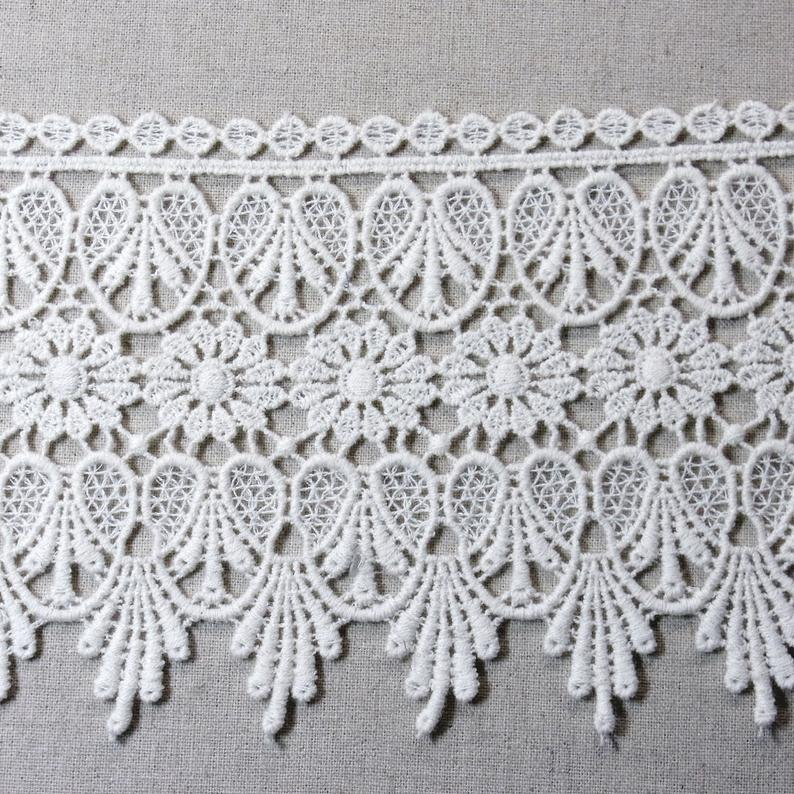 Embroidered Lace Trim Lovely Cotton Crochet DIY Sewing Craft Ivory 12cm(4.7) Wide 1Yd #628