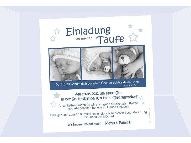 Einladung Taufe Stern Taufeinladung Fotokarte 125x125