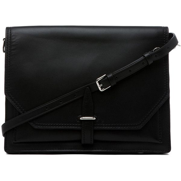 3.1 phillip lim Polly Double Compartment Crossbody in Black (650 CAD) ❤ liked on Polyvore featuring bags, handbags, clutches, accessories, purses, black, man bag, handbags crossbody, leather crossbody and leather crossbody purses
