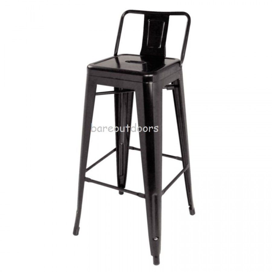 Tolix Low Back - High Stool Chair 75cm - Xavier Pauchard Replica - Premium  - Black - Tolix Low Back - High Stool Chair 75cm - Xavier Pauchard Replica