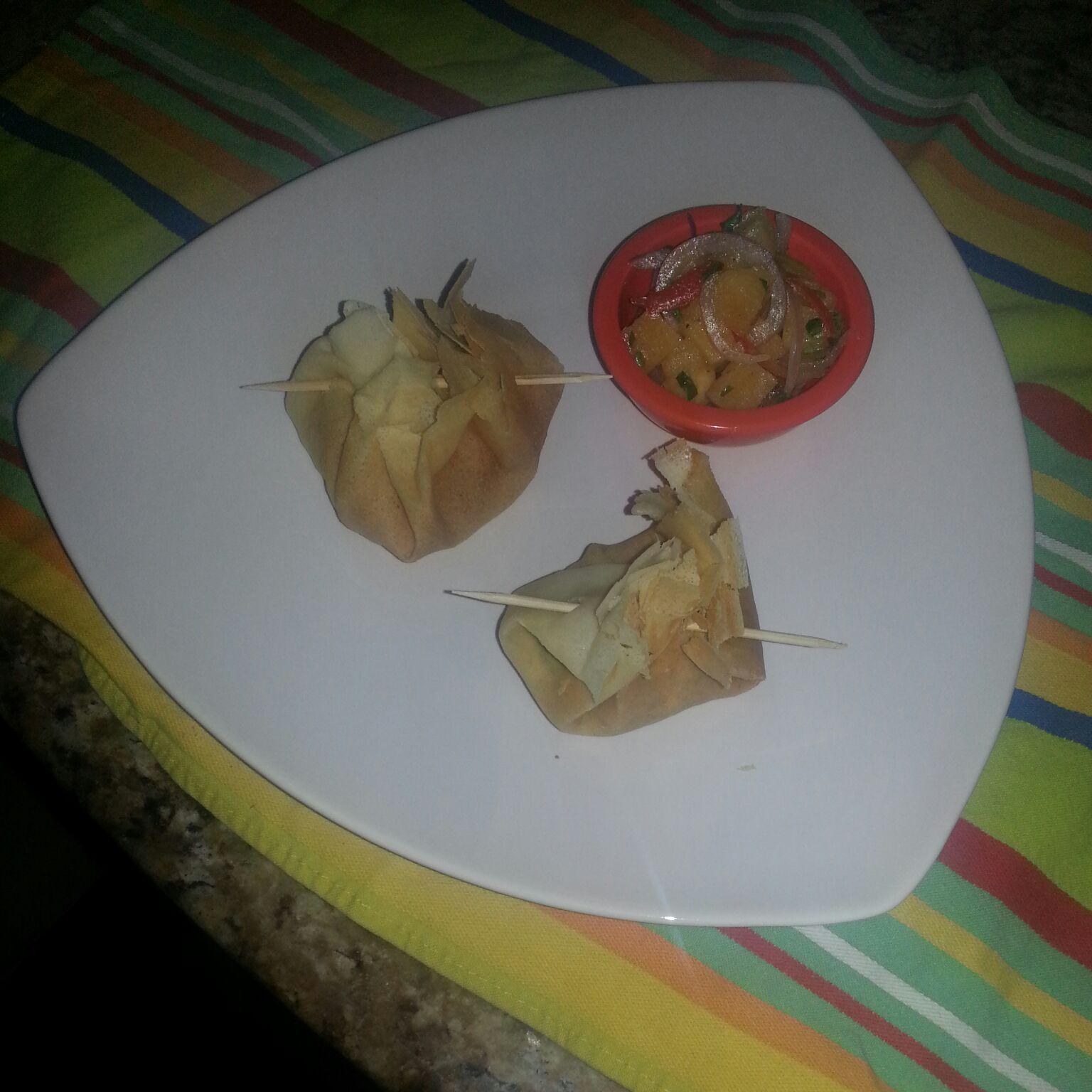 Crepes de pollo y espinacas + Ceviche de plátano