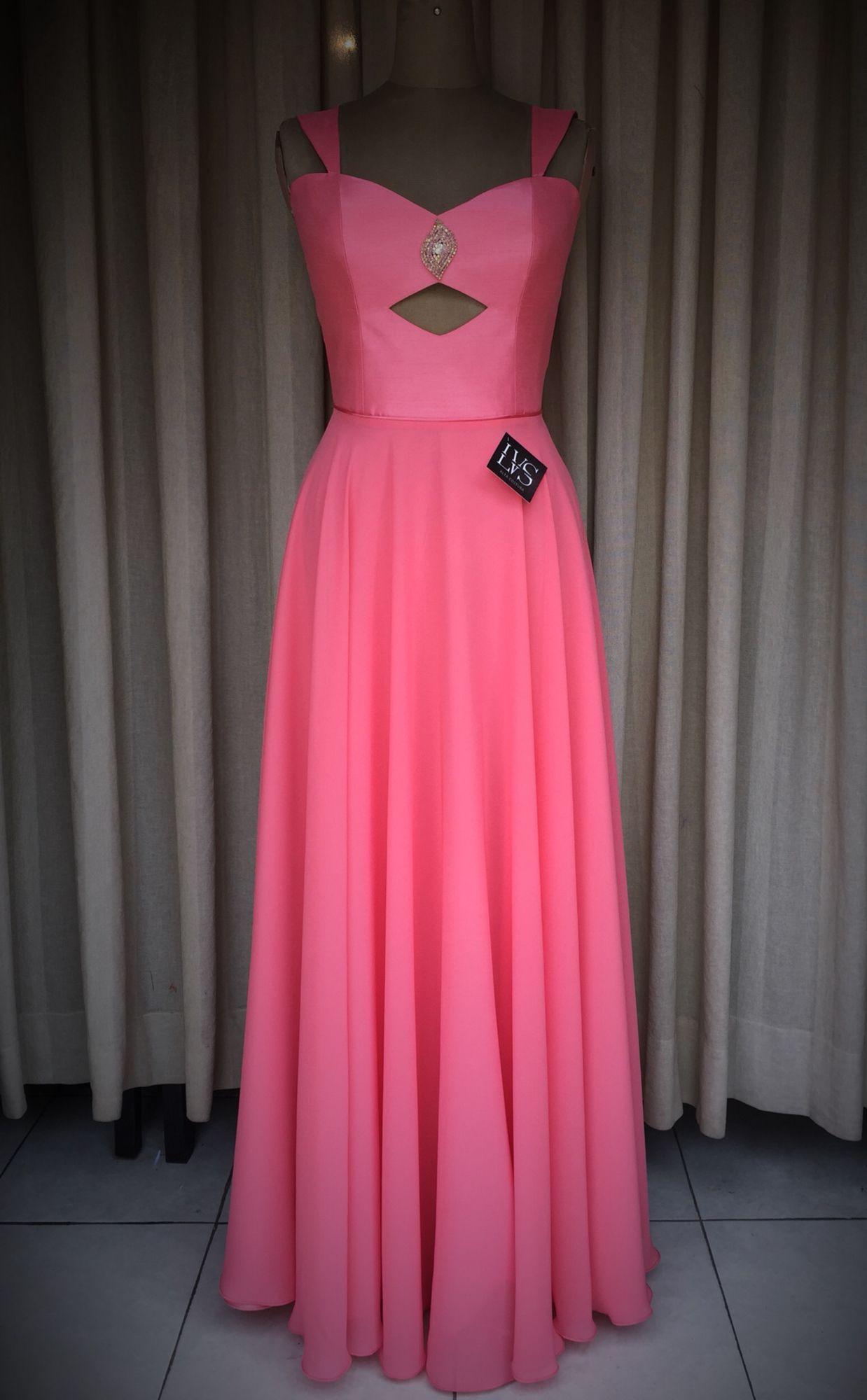 Vestido color coral tipo straple y falda circular | Vestidos - De ...