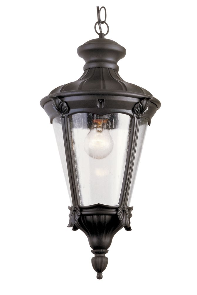 One Light Swedish Iron Outdoor Hanging Lantern With Seeded Gl From Bel Air Lighting Comes Shade That Will Complement Any Decor Style