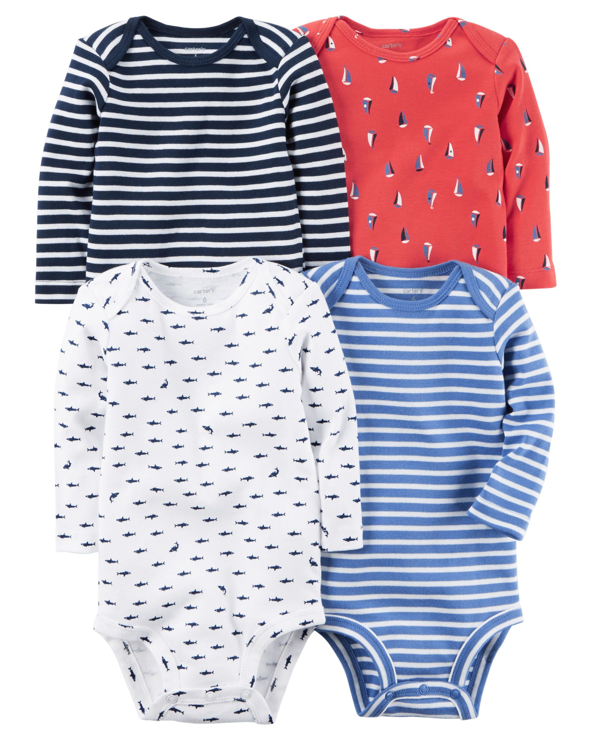 9b2549f24 Baby Boy 4-Pack Long-Sleeve Bodysuits from Carters.com. Shop clothing &  accessories from a trusted name in kids, toddlers, and baby clothes.