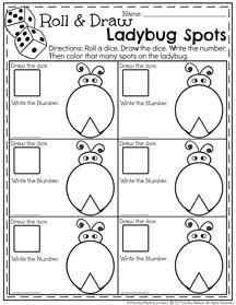 roll count and color ladybug spots may preschool worksheet pre k worksheets preschool