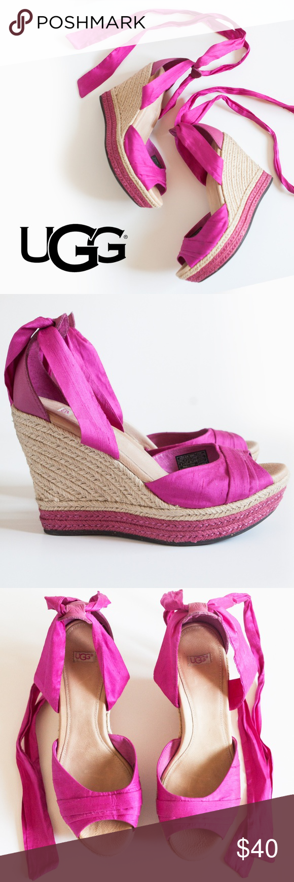 e45359fe1dd UGG Luciana Silk Wedge Espadrilles With the vibrant fuchsia palette ...
