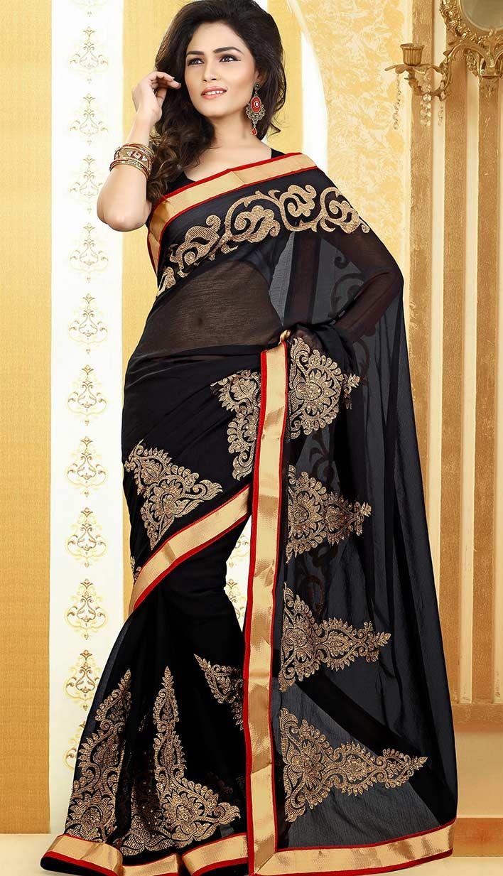 Saree blouse design new buy latest fashionablebollywood latest black chiffon designersaree