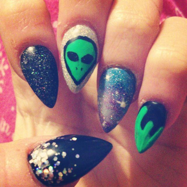 Alien Galaxy Nails Alien Nails Nails Nail Colors