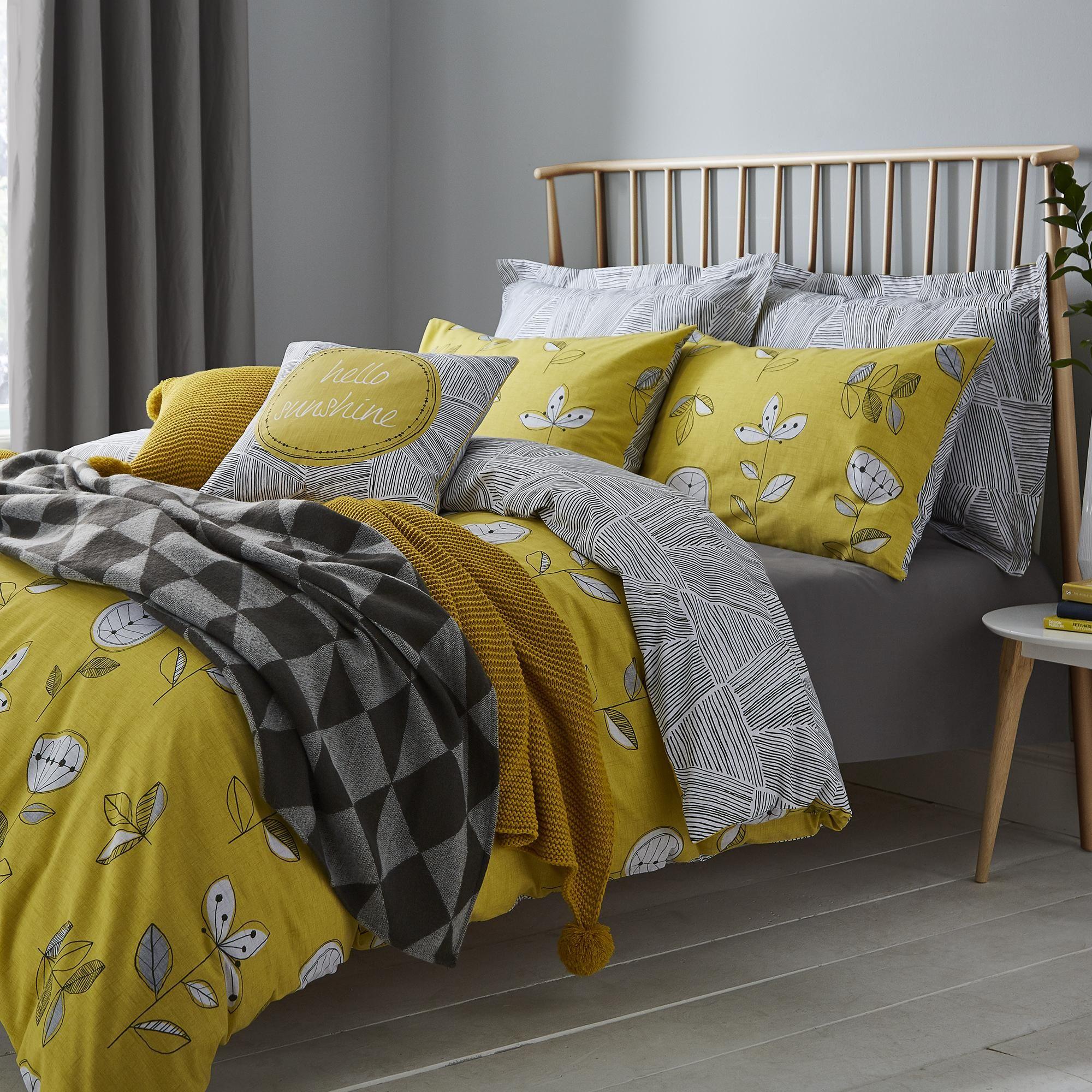 Dunelm Stripe Triangle Design Reversible Yellow Elements Sunflower