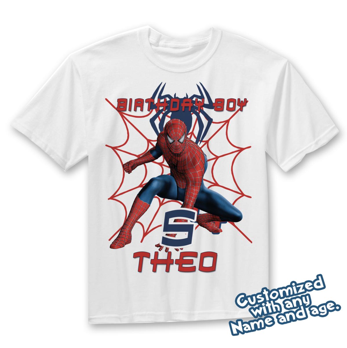 18e7c4632 Spiderman. Spiderman Spiderman, Custom Birthday Shirts, Birthday Parties ...