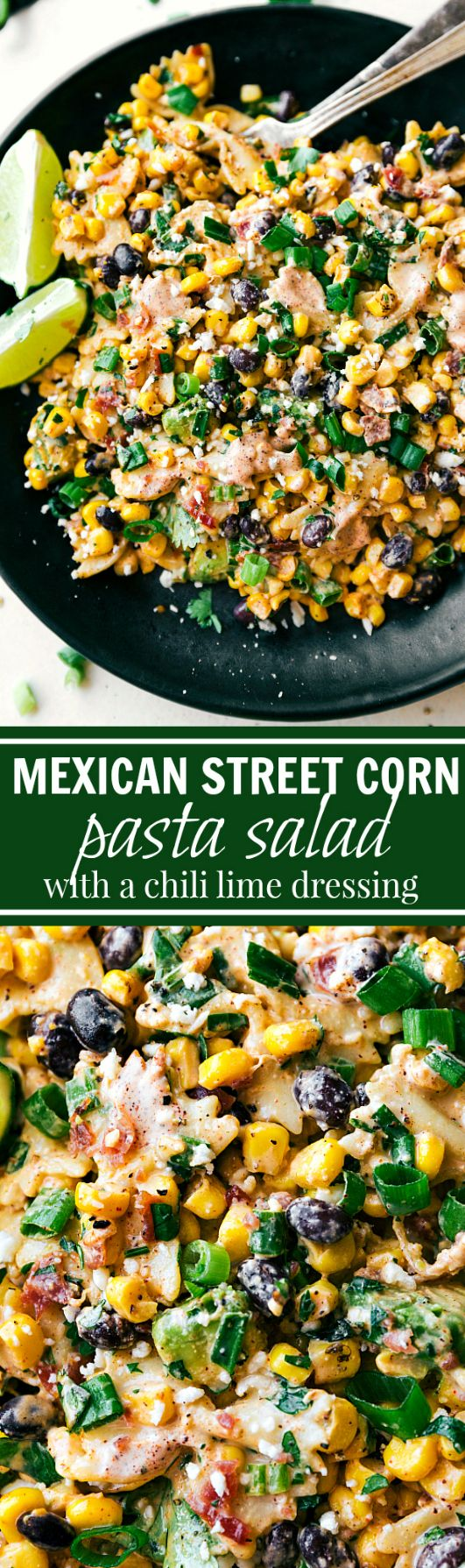 A delicious MEXICAN STREET CORN Pasta salad with tons of veggies, bacon, and a simple creamy CHILI LIME dressing. #mexicanstreetcorn