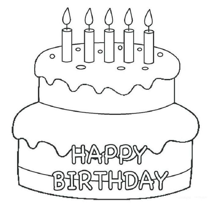 Simple Birthday Cake Coloring Pages | Birthday coloring ...