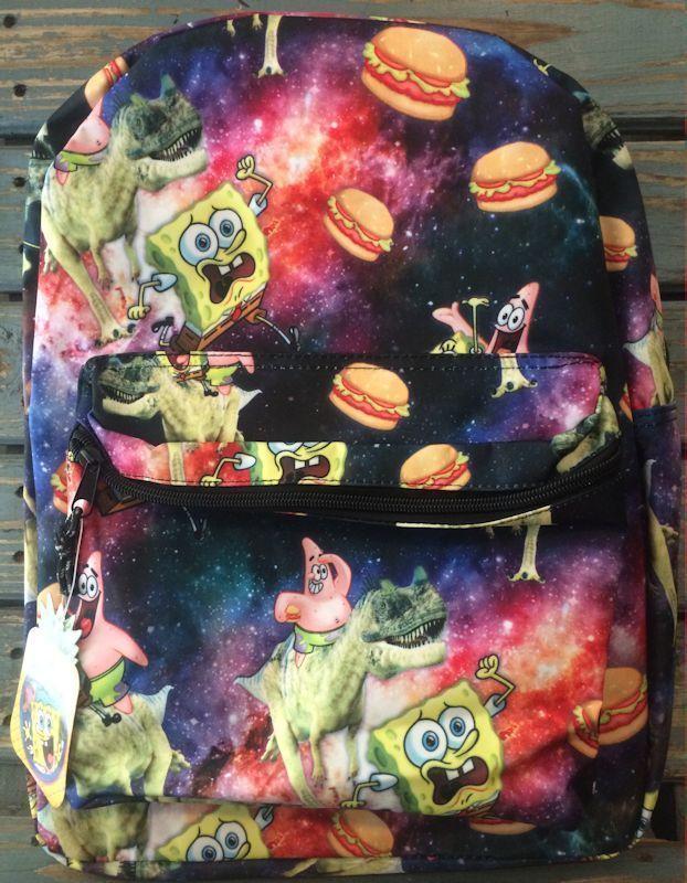 Spongebob Backpack Book Bag Tote Patrick Star Dinosaur Krabby Patty 16