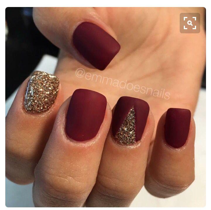 Pin By Samantha Ruiz On Beauty Red Nails Glitter Gold Nails Maroon Nails