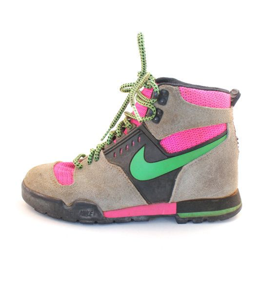 the latest 586a4 e7596 RARE Vintage Retro Womens Nike Lava Dome Neon PinkGreen Hiking Boots  Shoes on Etsy, 149.00