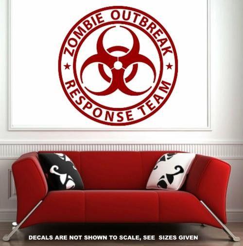 Zombie response team wall/car art sticker lrg vinyl decal Walls