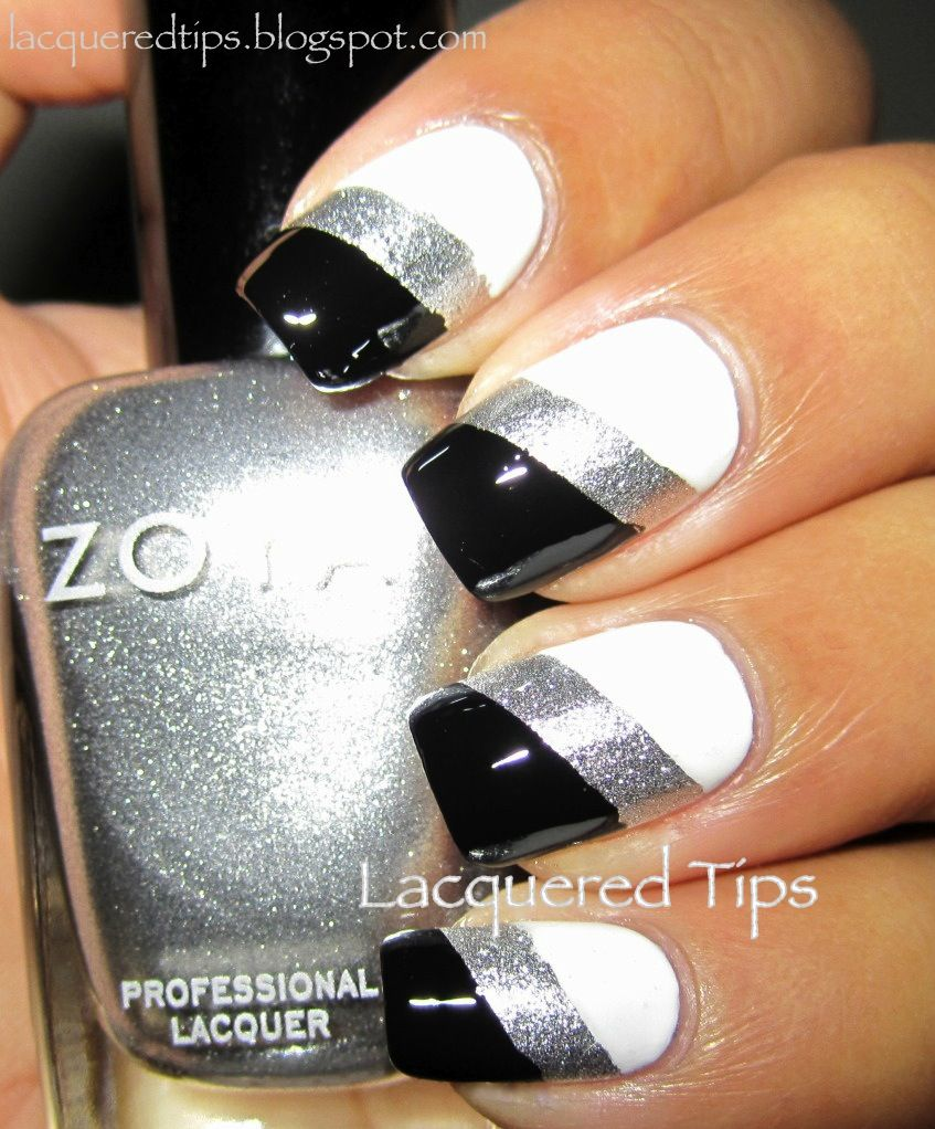 Lacquered Tips Black And White Challenge Day 7 White And Silver Nails Black And White Nail Art Silver Nails