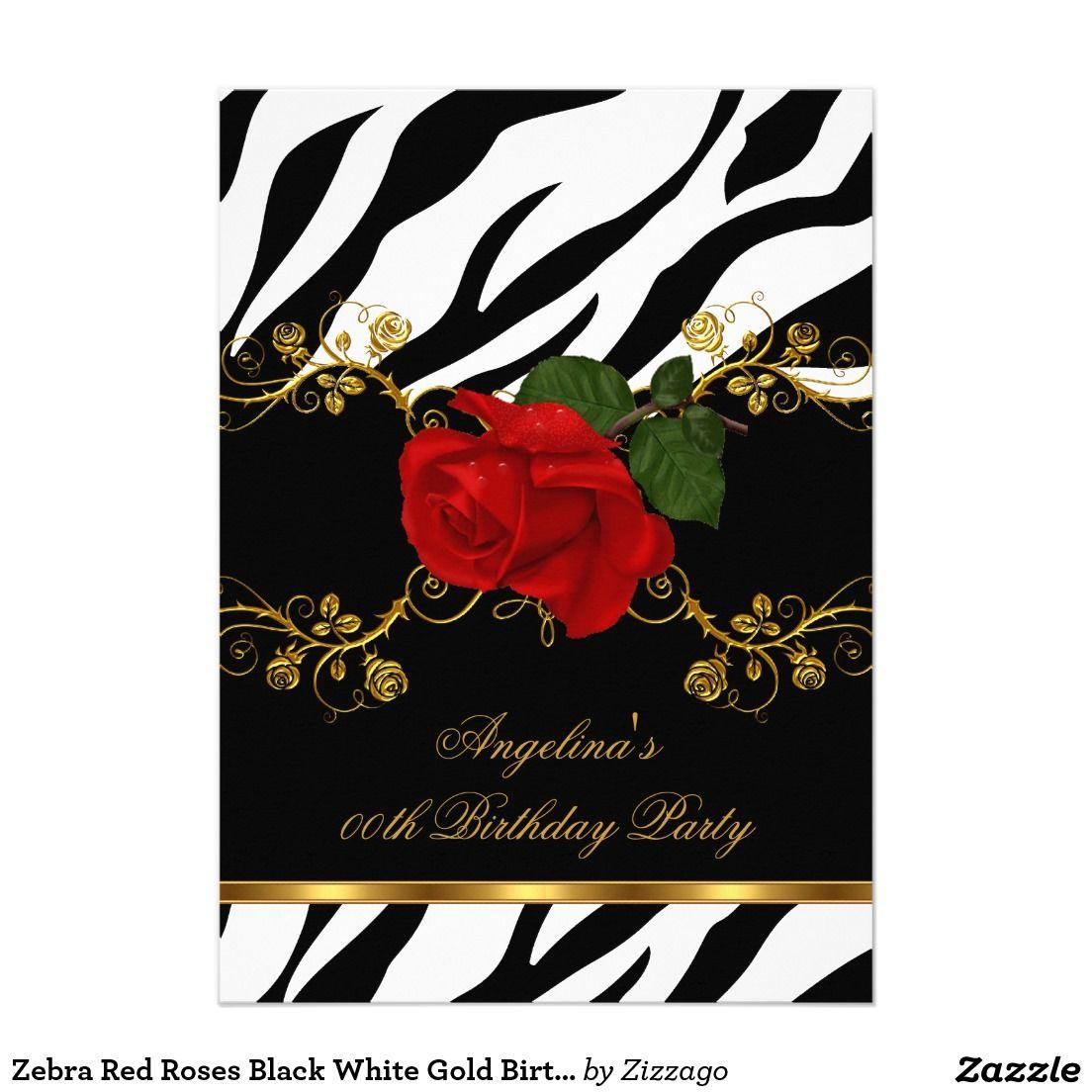 Zebra Red Roses Black White Gold Birthday Party Invitation