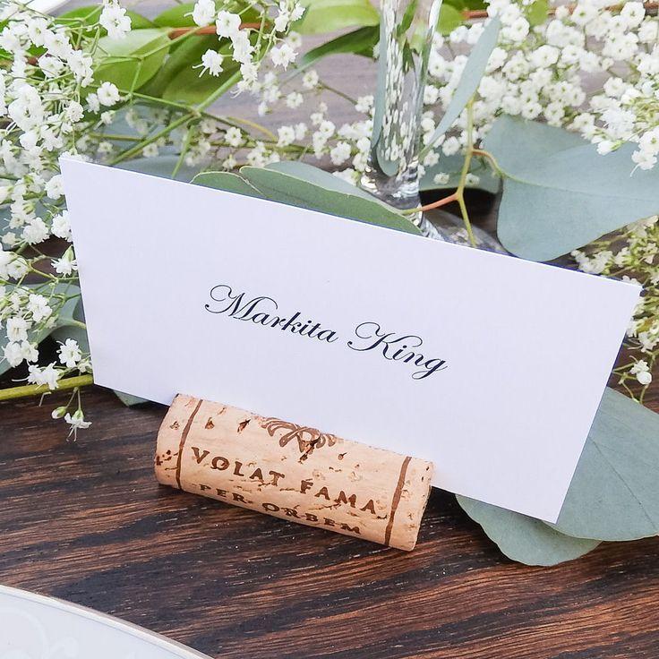 Real Weddings Cork: Variety Of Wine Cork Place Card Holders