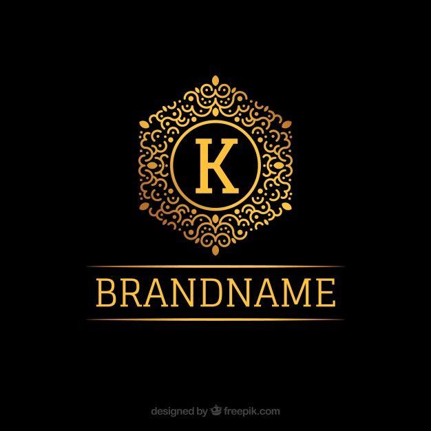 Golden monogram logo Free Vector | vitangle ribbon | Pinterest