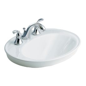 KOHLER Serif White DropIn Oval Bathroom Sink With Overflow Cool - Oval bathroom sinks drop in