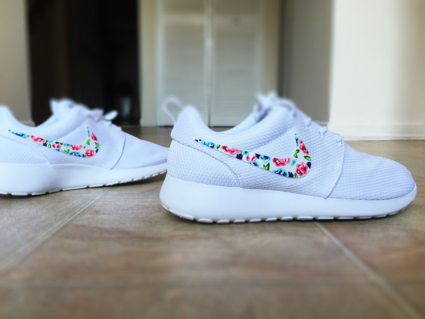 promo code bf18e dab5f Womens Custom Nike Roshe Run Floral design, Custom Floral Nike, white with  pop of color, cute and trendy