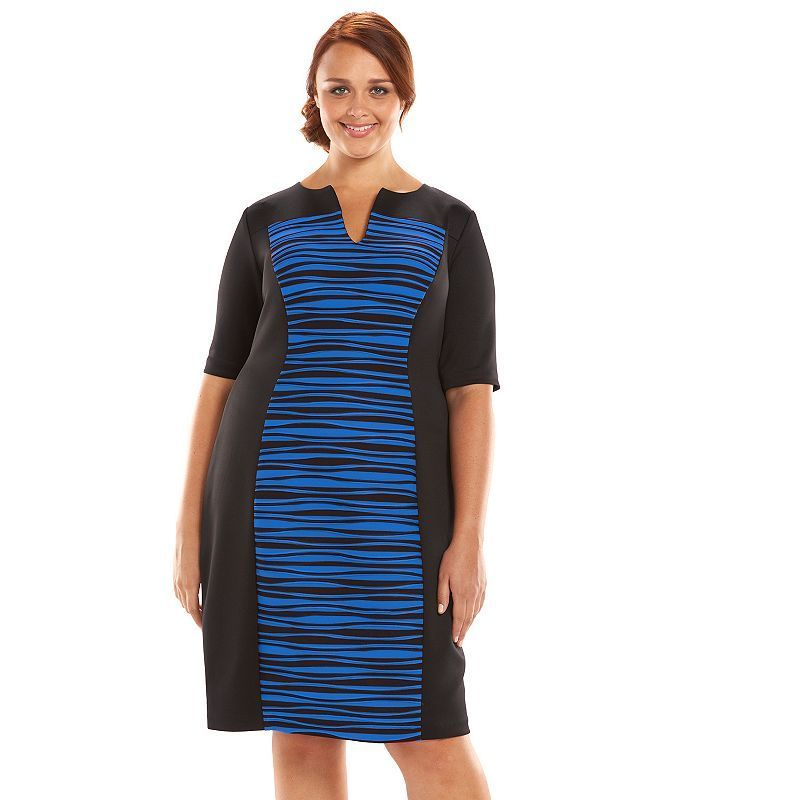 Plus Size Connected Apparel Pintuck Striped Sheath Dress Womens