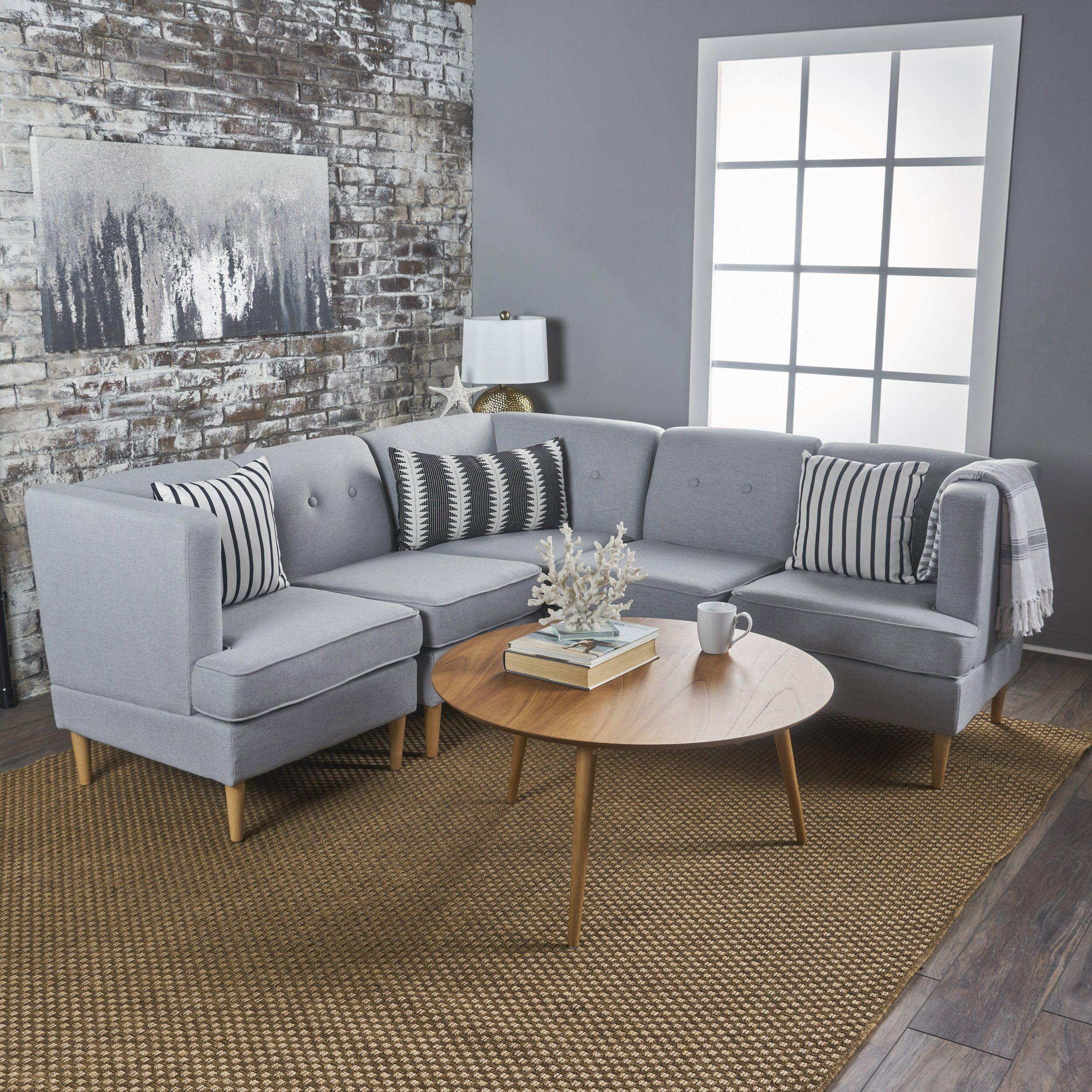 Milltown mid century modern fabric piece sectional sofa set