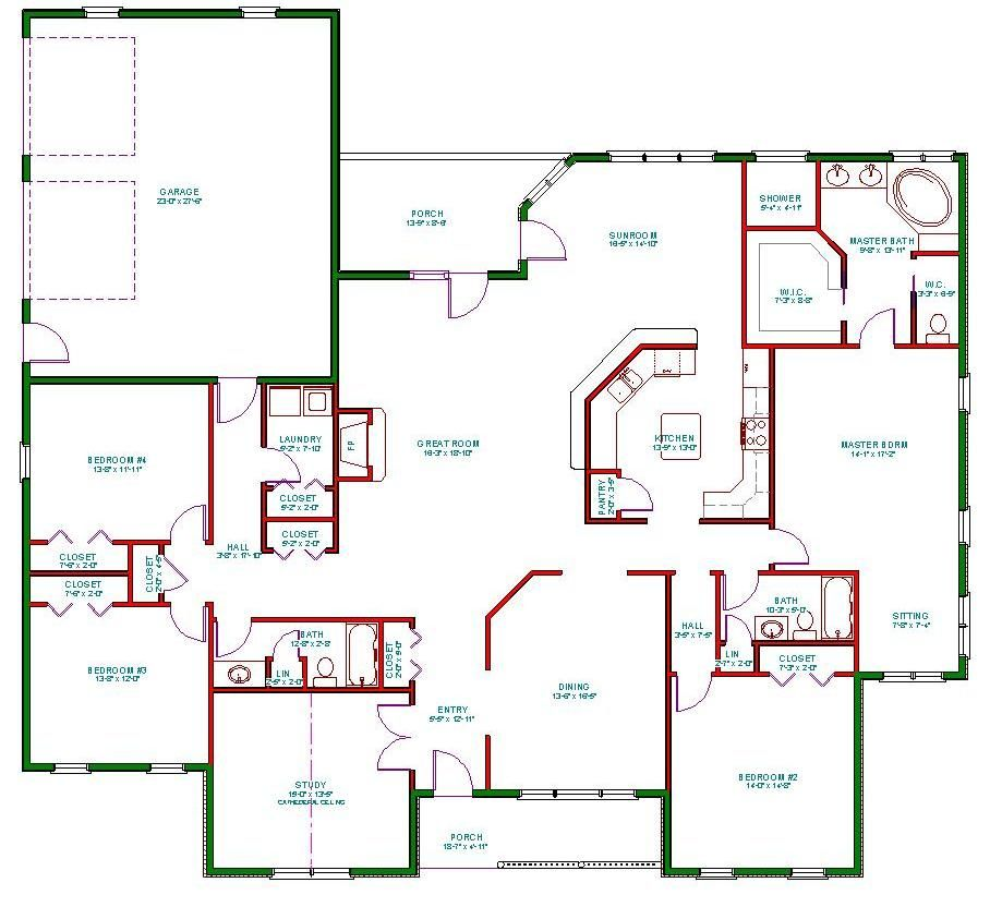 Single story open floor plans plan single level one for One story luxury home floor plans
