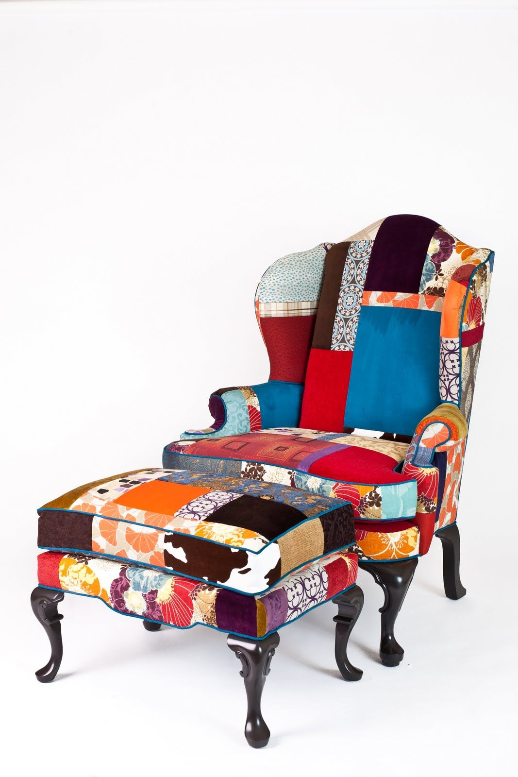 front of Doyle patchwork chair and footstool Patchwork