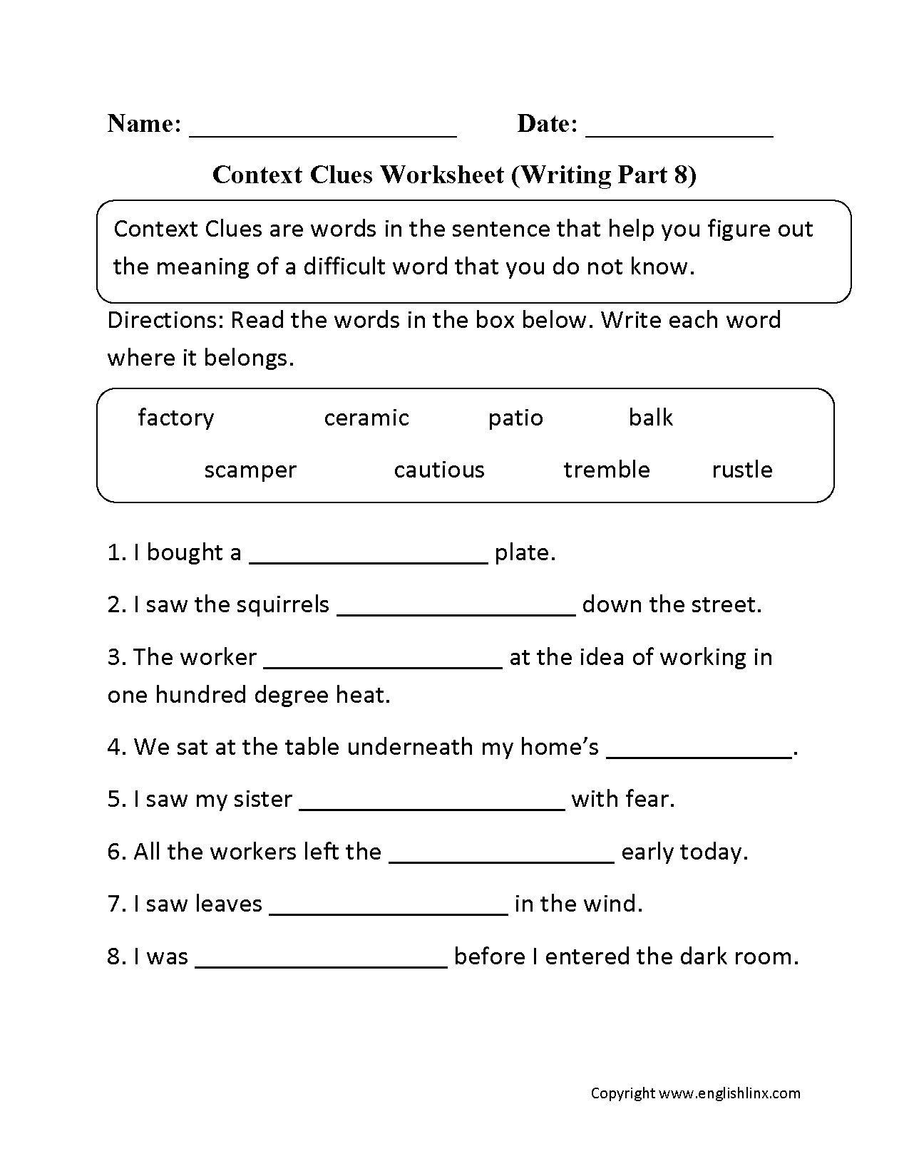 Context Clues Worksheet Writing Part 8 Intermediate