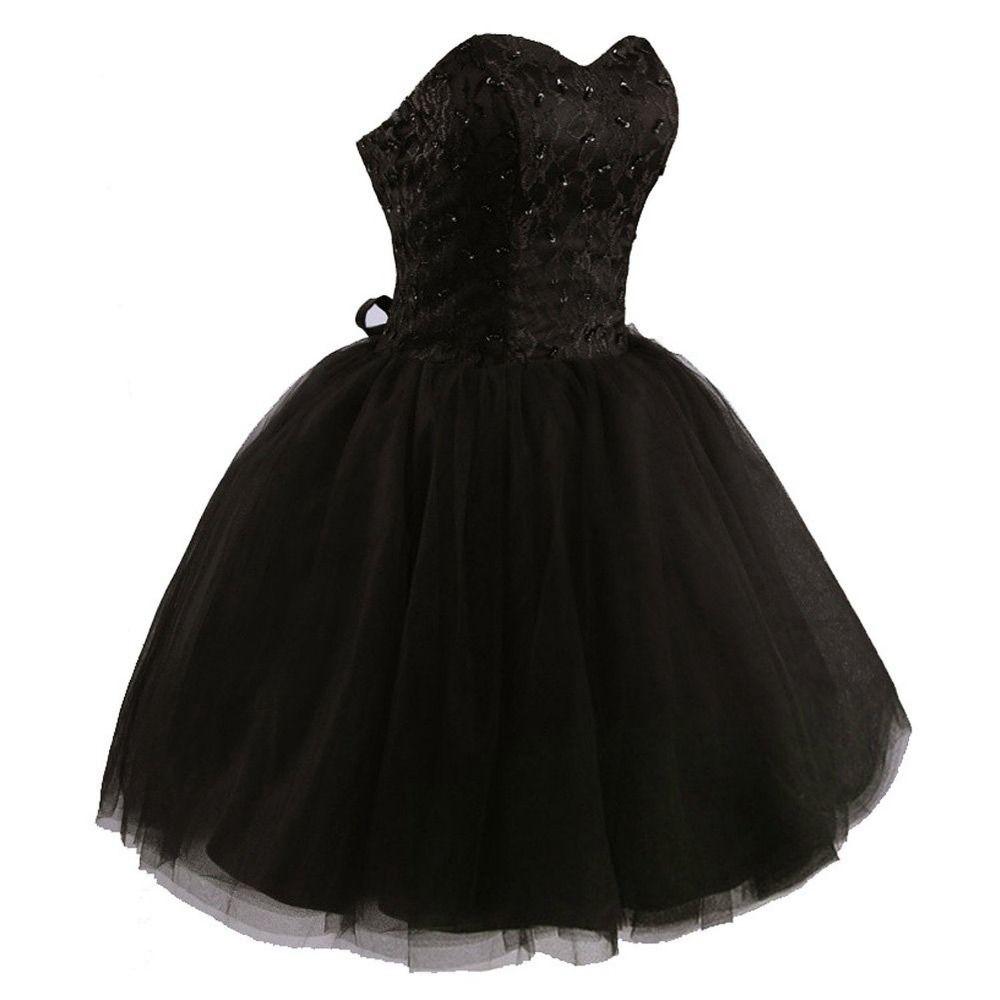 Sweetheart aline black tulle prom dressevening dressbridesmaid