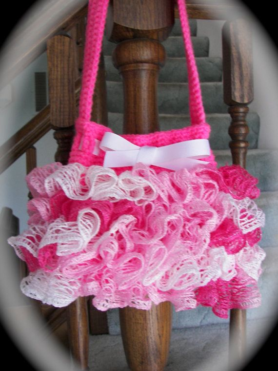 Sashay yarn purse | Pink Sashay Ruffle Purse Accessory Purse for ...