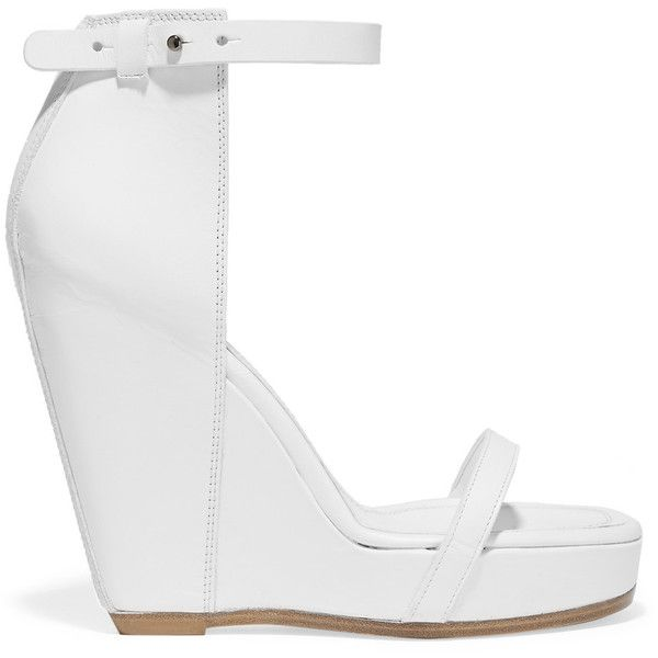 Rick Owens Web leather wedge sandals (£294) ❤ liked on Polyvore featuring  shoes