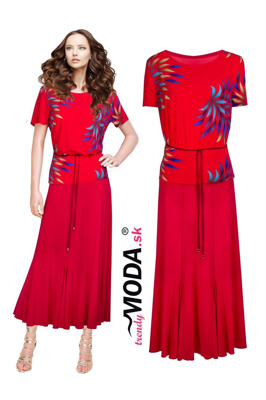 fe861627a4ff Elegantné dlhé červené dámske šaty s efektnou potlačou