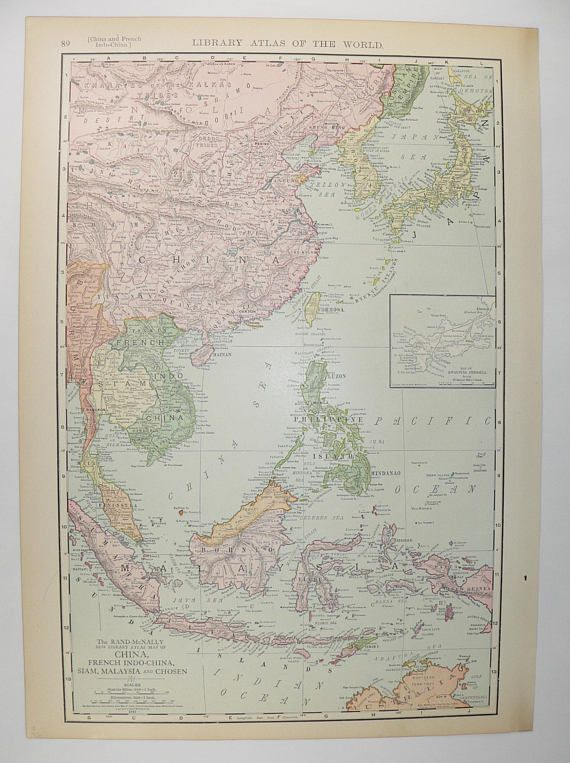 old china map malaysia korea map vietnam 1912 rand mcnally map japan taiwan map philippines singapore map borneo east indies travel map available from