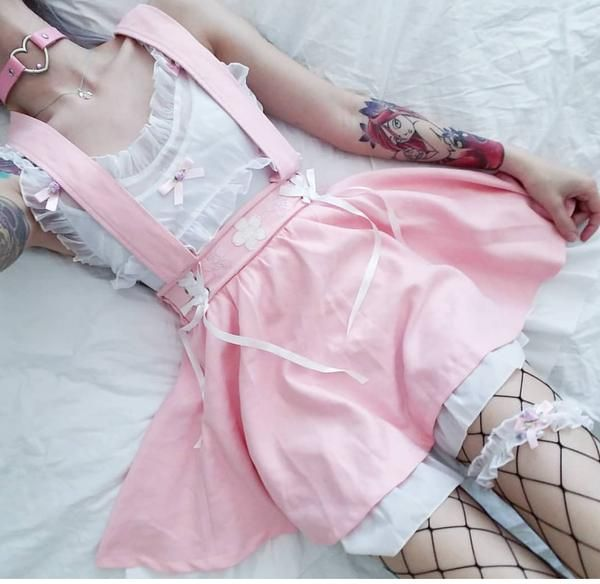 Sakura Embroidered Suspender Skirt #kawaiiclothes