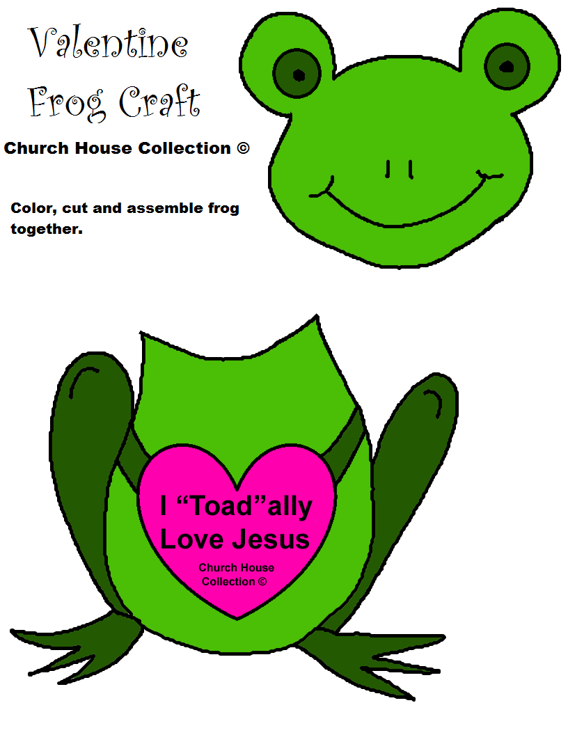 Frog Valentine Craft For Sunday School I Toad ally love Jesus Cutout ...