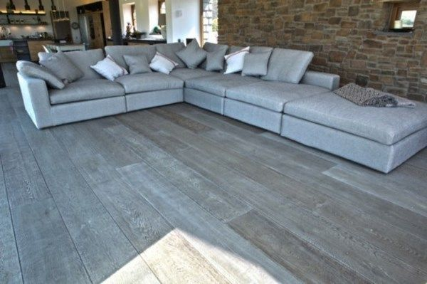Living Room Design Gray Hardwood Floor Idea Stone Wall Elegant Sectional Leather Sofa Grey Hardwood Floors Wooden Floors Living Room Grey Wood Floors