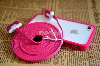 Hot Pink Frame Ultra Clear Back Case Cover 3M 10ft Flat Cable for iPhone 4 4S | eBay