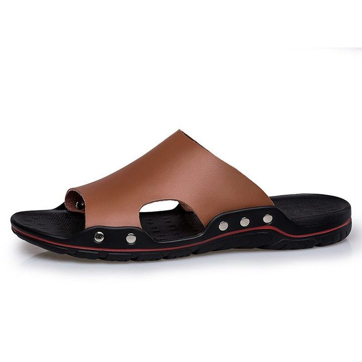 Mens Leather Sandals Shoes Open Toe Sport Casual Flip flops Flats Slippers Beach
