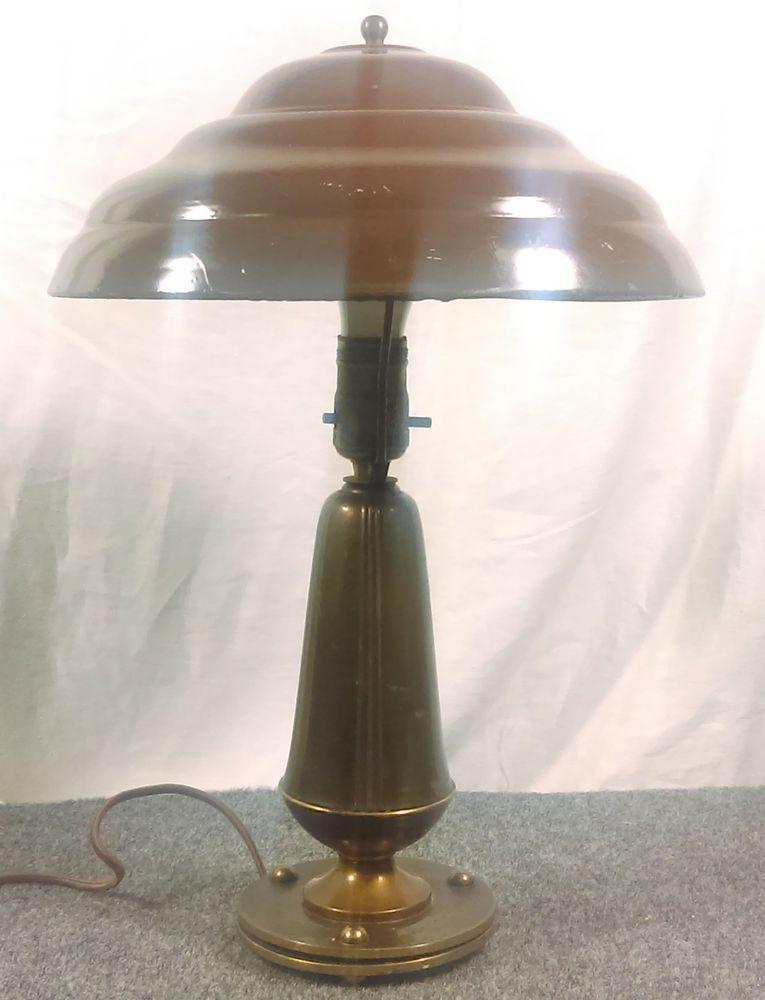 Vintage Brass Desk Lamp W Metal Flying Saucer Mushroom Shade Works Table Retro Brass Desk Lamp Lamp Desk Lamp