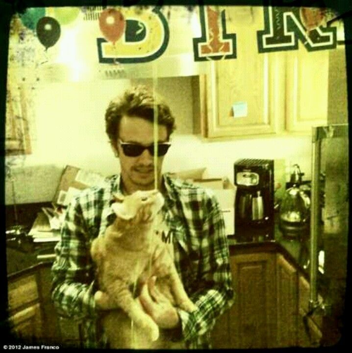 James franco with his cat